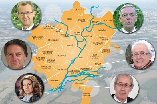 carte des villes à droite dans le Maine et Loire