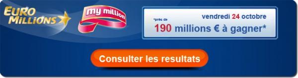 résultat du tirage Euromillions My Million de ce vendredi 24 octobre 2014