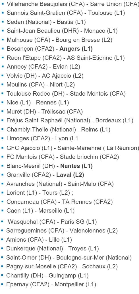 Le tirage complet des 1/32 de finale de la Coupe de France 2015/2106