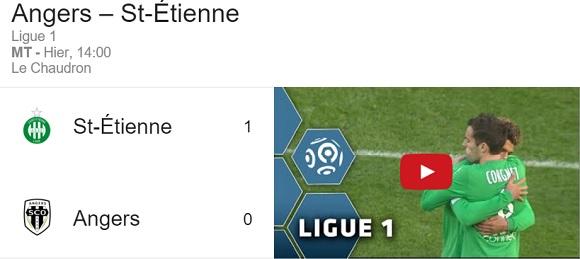 Résultat pour le match entre le SCO d'Angers et l'AS Saint Etienne