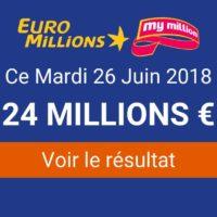 Résultat Euromillions du mardi 26 juin 2018