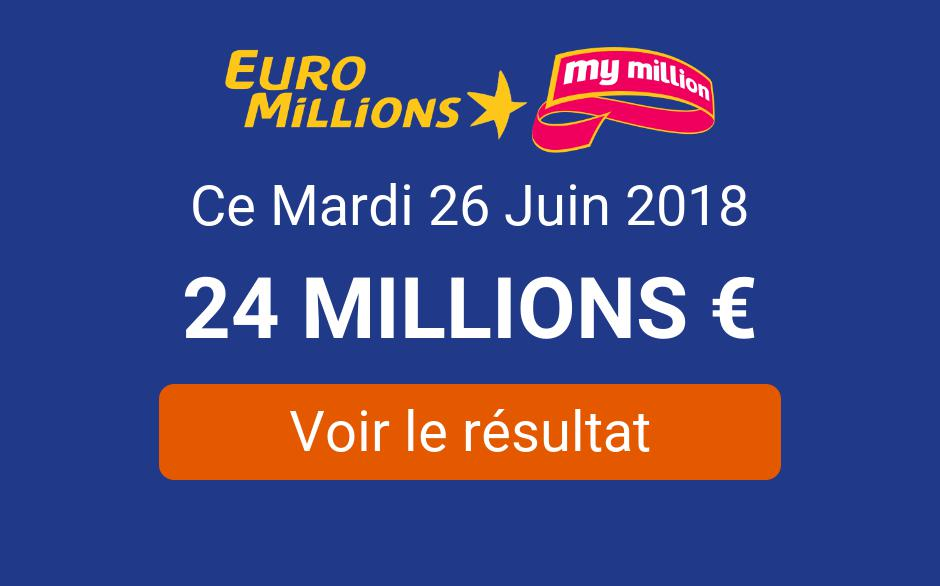 Résultat Euromillions du mardi 26 juin 2018