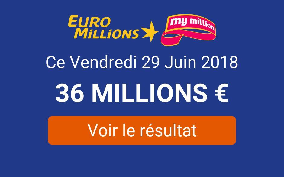 Résultat du tirage Euromillions ce vendredi 29 juin 2018